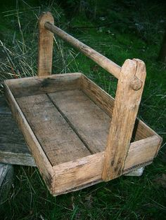 Antique Vintage Early 1900s Rustic Primitive Country Farmhouse Wood Berry Tote Carrier Crate