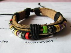 Punk and Rock Soft Black Soft Leather Bead by braceletcool on Etsy, $3.50