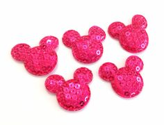 Mickey Mouse 11/8 hot pink sequin padded by BoutiqueSuppliesCo, $0.75