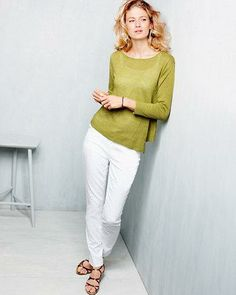 Eileen Fisher Asymmetrical-Hem Sweater and Stretch Cotton Twill Pants.