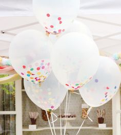 Party balloons filled with tissue confetti