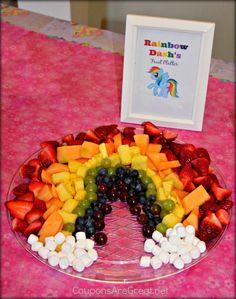 rainbow dash, poni birthday, birthday parties, rainbow fruit, poni rainbow