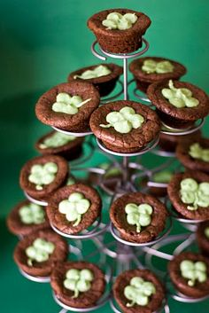 St. Patrick's Day -- Guinness Brownie Bites with Bailey's Cream Cheese Frosting