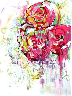 Abstract Floral Watercolor and Acrylic  Painting on watercolor paper by Lana