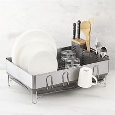 simplehuman® Steel Frame Grey Dish Rack I Crate and Barrel