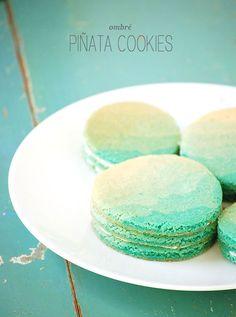 tiffany blue ombre pinata cookies