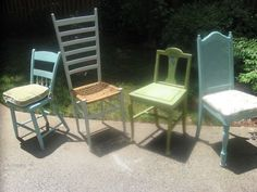 Four adorable mismatched chairs - $35 (Acworth)