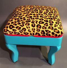 Joxasa cheetah print hair on hide foot stool