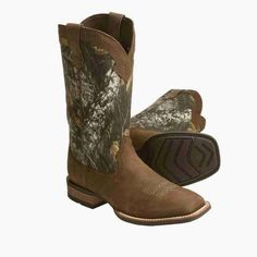 Ariat Unbridled Women's Powder Brown with Camo Top Square Toe Western