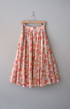 vintage Painted Poppies midi skirt