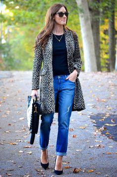 boyfriend jeans + leopard coat
