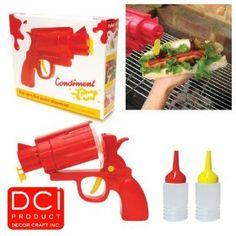 Shoot mustard and ketchup on your bun. Awesome. guns, kitchen gadget, bbq sauces, parties, ketchup, picnics, kitchen dining, condiment gun, gift idea