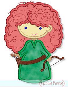 Cutie Princess Archer Girl Applique 4x4 5x7 6x10