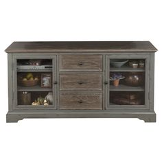 Antiqued Grey Media Console