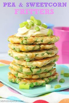 With just a few store cupboard essentials you can make these really tasty Pea & Sweetcorn Fritters. Great for toddlers and weaning babies too! | My Fussy Eater blog