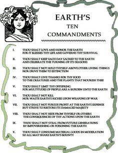 Earth's ten commandments. X