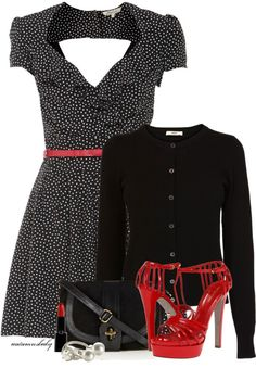 Black white and red dress outfit!
