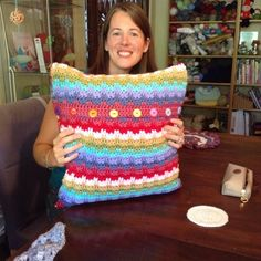 colorful #crochet cushion made by @thedorsetfinca