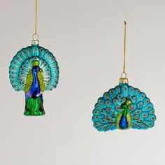 Glass Peacock Ornaments,  Set of 2
