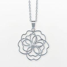silver necklaces, pendant 4500, pendants, style, silver floral, sterl silver, sterling silver, floral pendant, kohls