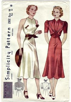 Misses' Sunback Frock and Bolero. The princess frock has a halter top neckline and slashed pockets. The skirt is flared. A tied girdle. The bolero jacket that is trimmed with bias band has unusual shaped revers and short sleeves.    Featured in February 1937 Simplicity advertising booklet.    It's so wonderful, and awful dress, bolero