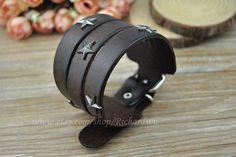 Brown cuff leather bracelet  Antique star charm by Richardwu, $9.99