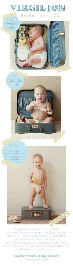 Age milestones photo idea for the first year babies stuff, vintage suitcases, babi pictur, baby pictures, photo idea, baby photos, baby milestone picture ideas, babi photo, photographi