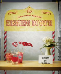 Kissing Booth Personalised Wedding Photo Booth Backdrop! Very cute idea! Think i might make my own!