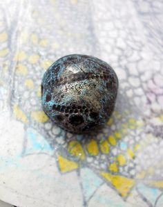 Rustic Clay Art Bead - 1 Rustic Tribal Glam Epoxy Clay Bead - Chunky Dark Bead w Crackled Metallic and Grey Blue - Glyph Stamped Textures