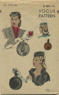 Vintage Hat Sewing Pattern   Vogue 5272   Year 1944   Head Size 21   Pill Box Hat and Drum Handbag