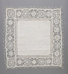 17th Century, Italian, Linen, Needle Lace.
