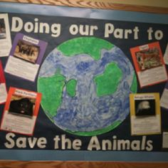 """Bring attention to endangered animals by having your students research an endangered species. My students chose an animal and made a mini-poster educating others about their endangered species. This board won our schools """"Best Bulletin Board"""" award!"""