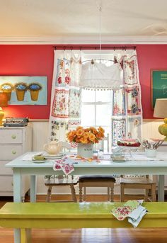 hankie curtains and fabric lampshade. Could use an embroidery hoop for top of shade or possibly wagon wheel- M.O.M.