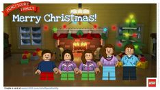 LEGO lovers, Make a Free LEGO Minifigure Family Holiday Greeting Card!