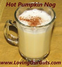 GAPS/Paleo Pumpkin Nog      2 eggs     2 TBSP butter     2 TBSP Coconut Oil     2 TBSP Honey     1/4 tsp Sea Salt     1/2 tsp Vanilla Extract     1 tsp Pumpkin Pie Spice     1/2 cup pumpkin (or any orange winter squash like butternut)      2 cups hot water     Ground Cinnamon (optional)