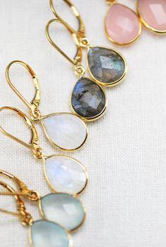 Keha earrings rainbow moonstone gold earrings