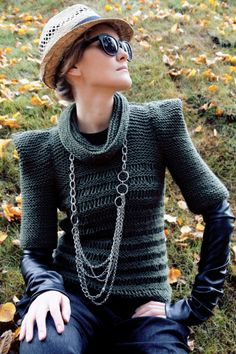 Olive green military autumn hand knit sweater.