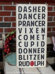 Christmas Reindeer Typography Word Art Sign