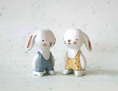 Miniature bunny  Swimmer rabbit   paper clay by sweetbestiary, £25.90