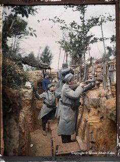 soldier, histori, de photographi, somm, trench, colour photo, albert kahn, color photography, war