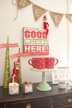Fantastic hot cocoa bar at a North Pole Elf on the Shelf Party!   See more party ideas at CatchMyParty.com!  #partyideas #christmas