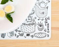 white print, stylish kitchen, kitchen stuff