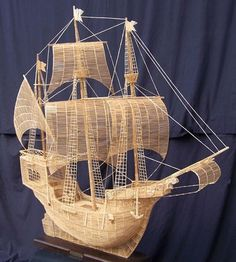 Awesome ship made totally out of matchsticks.
