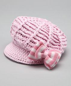 Light Pink Bow Diva Newsboy Hat - Infant, Toddler & Girls