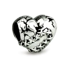 Sterling Silver Ohm Love Hurts Heart Bead AAL012