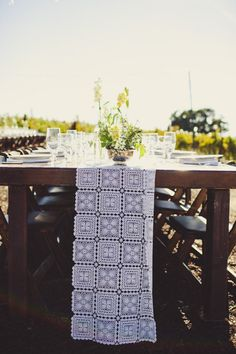 crochet table runners - we could make something similar... change up the pattern? But crochet them ourselves, nonetheless!