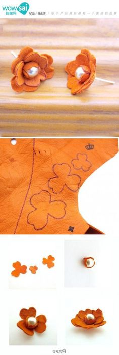 flower craft, craft flowers, bead earrings, diy leather earrings, diy felt earrings, diy earrings studs, fabric flowers, leather flowers diy, leather earrings diy