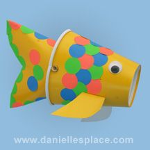 Rainbow fish puppet craft made from paper cups www.daniellesplace.com