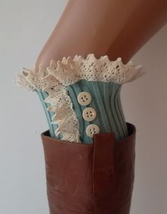 Turquoise lace boot cuffs with lace and buttons boho boot socks lace cuffs women's accessory leg warmers back to school