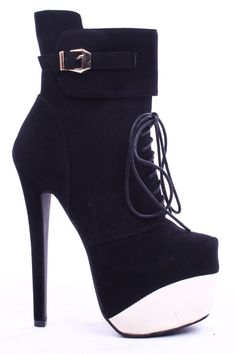 Smooth velvet upper in a platform booties style with a round closed toe, lace up front, buckle accent. Side zipper closure for easy slip on. Faux leather lining and footbed. #Fashiongods #BeHot #shoes #Classy #heels #HighFashion #lollicouture